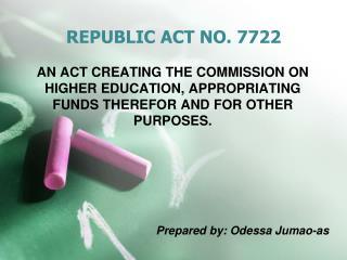 REPUBLIC ACT NO. 7722