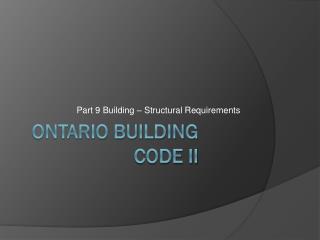 Ontario Building code ii