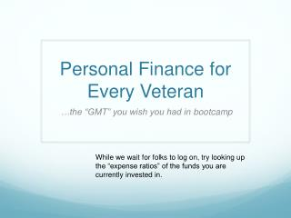 Personal Finance for Every Veteran
