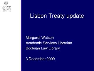 Lisbon Treaty update
