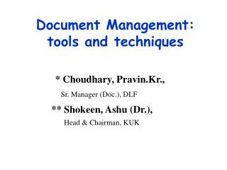 document management: tools and techniques