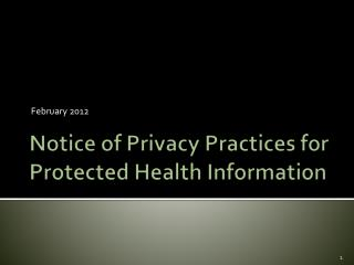 Notice of Privacy Practices for Protected Health Information