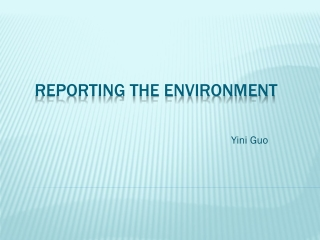 Reporting the Environment