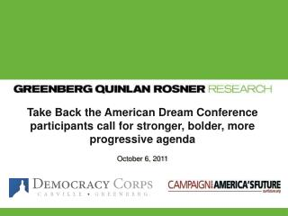 Take Back the American Dream Conference participants call for stronger, bolder, more progressive agenda October  6,  20