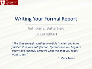 Writing Your Formal Report