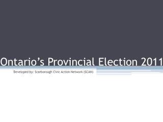 Ontario's Provincial Election 2011