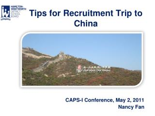 Tips for Recruitment Trip to  China