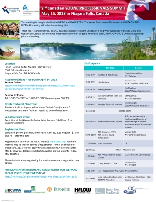 2 nd  Canadian YOUNG PROFESSIONALS SUMMIT May 15, 2013 in Niagara Falls, Canada
