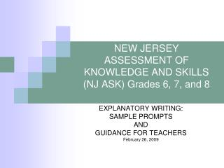 new jersey assessment of knowledge and skills nj ask grades 6, 7, and 8