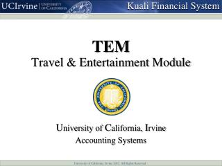TEM Travel & Entertainment  Module