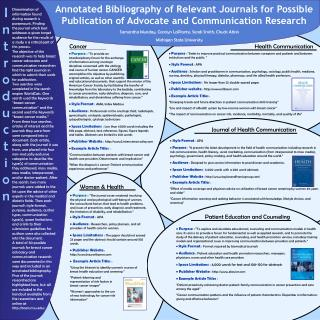 annotated bibliography of relevant journals for possible publication of advocate and communication research