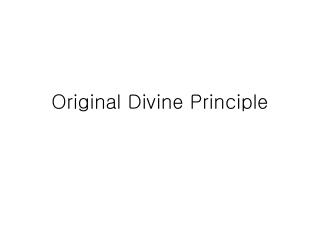 Original Divine Principle