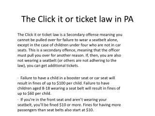 The Click it or ticket law in PA