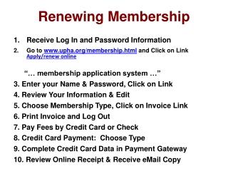 Renewing Membership