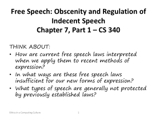 Free Speech: Obscenity and Regulation of Indecent  Speech Chapter 7, Part 1 – CS 340