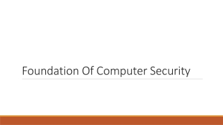 Foundation Of Computer Security