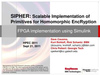 SIPHER:  Scalable  Implementation of Primitives for  Homomorphic EncRyption