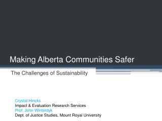 Making Alberta Communities Safer