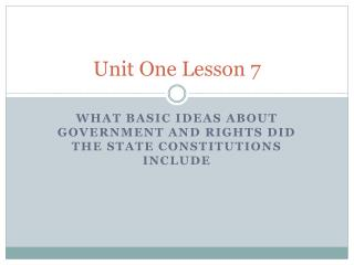 Unit One Lesson 7