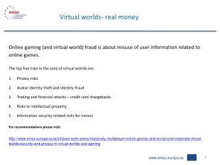 Virtual worlds- real money