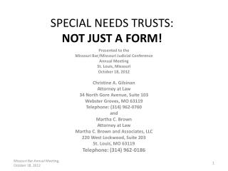 SPECIAL  NEEDS TRUSTS :  NOT  JUST A FORM!