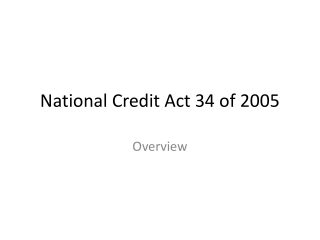 National Credit Act 34 of 2005