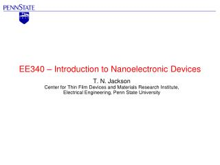 EE340 – Introduction to  Nanoelectronic  Devices