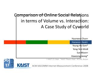 Comparison of Online Social Relations  in terms of Volume vs. Interaction:  A Case Study of Cyworld
