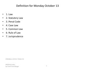Definition for Monday October 13