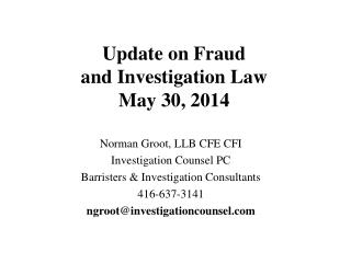 Update on Fraud  and Investigation Law  May 30, 2014