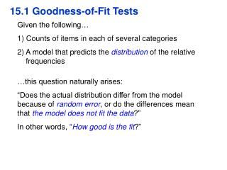 15.1 Goodness-of-Fit Tests