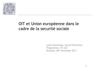 Luisa  Guimar�es , Socia l Protection  Programme , ITC-ILO Brussels, 28 th  November 2011