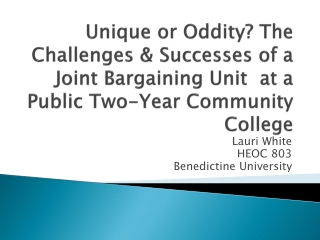 Unique or Oddity? The  Challenges & Successes of a Joint Bargaining Unit  at a Public Two-Year Community College
