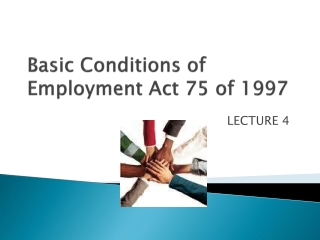 Basic Conditions of Employment Act 75 of 1997