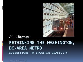 Rethinking the Washington, DC-Area Metro suggestions to increase usability
