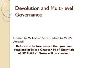 Devolution and Multi-level Governance