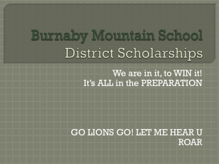 Burnaby Mountain School  District Scholarships