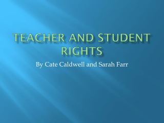 Teacher and Student Rights