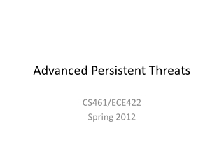 Advanced Persistent Threats