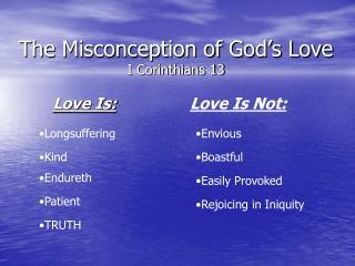 the misconception of god s love i corinthians 13