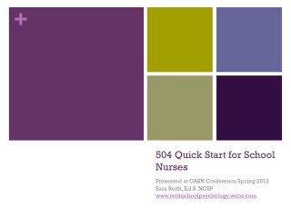 504 Quick Start for School Nurses