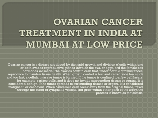ovarian cancer treatment in india at mumbai at low price