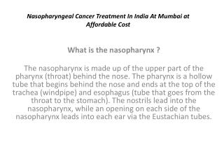 nasopharyngeal cancer treatment in india at mumbai at afford