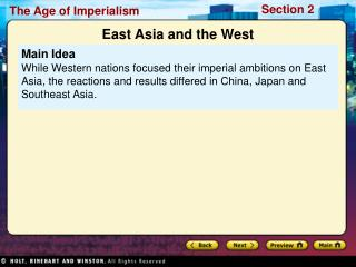 main idea while western nations focused their imperial ambitions on east asia, the reactions and results differed in chi