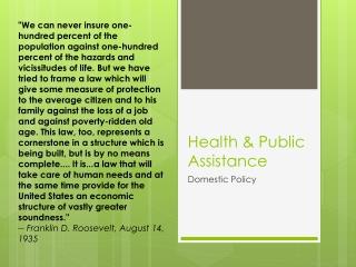 Health & Public  Assistance