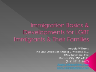 Immigration Basics & Developments for LGBT Immigrants & Their Families