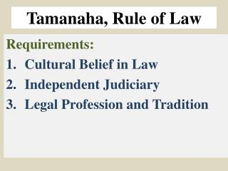 Tamanaha , Rule of Law