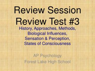 Review Session  Review Test #3
