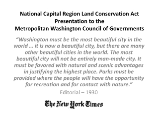National  Capital Region Land Conservation Act Presentation to the  Metropolitan  Washington Council of Governments