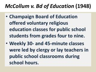 McCollum v.  Bd  of Education (1948)